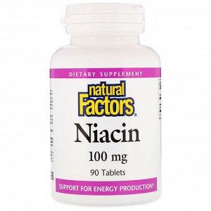 Natural Factors, Ниацин, 100 мг, 90 таблеток