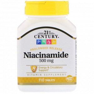 21st Century, Никотинамид, 500 мг, 110 таблеток