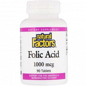 Natural Factors, Фолиевая кислота, 1000 мкг, 90 таблеток