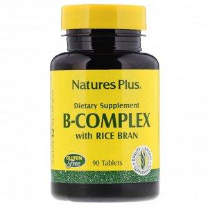 Nature&#x27 - s Plus, Комплекс витаминов группы B с рисовыми отрубями, 90 таблеток