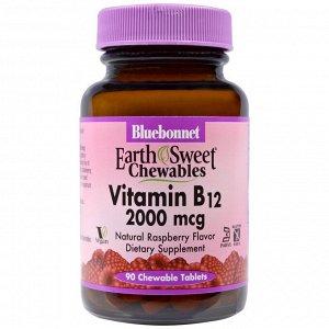 Bluebonnet Nutrition. Жевательные таблетки «EarthSweet». витамин B12. натуральный вкус малины. 2000 мкг. 90 шт.