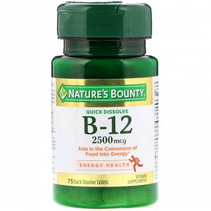 Nature's Bounty. B-12. Natural Cherry Flavor. 2.500 mcg. 75 Quick Dissolve Tablets