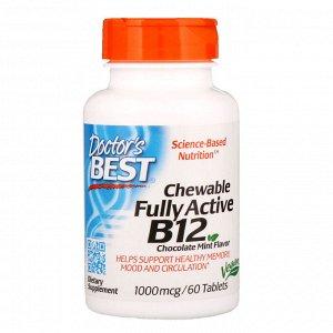 Doctor&#x27 - s Best, активный витамин B12, со вкусом шоколада и мяты, 1000 мкг, 60 жевательных таблеток