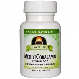 Source Naturals, Vegan True, метилкобаламин, ароматизатор «Вишня», 1 мг, 60 сублингвальных таблеток