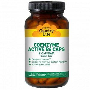 Country Life, Коферментный активный витамин B6 в капсулах, P-5-P/PAK, 30 растительных капсул