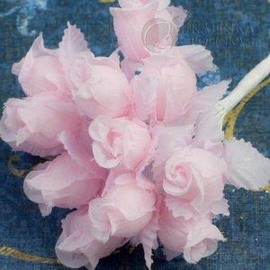 1 букет (12шт.) Цветы из ткани Розочки, цвет нежно-розовый с нежно-розовыми листьями, р-р 12х18мм, ножка белая 8см, Цветы из ткани Розочки, цвет нежно-розовый с нежно-розовыми листьями, р-р 12х18мм, н