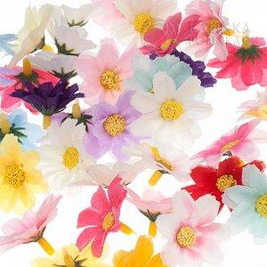 Ромашки мелкие, цвет микс, р-р цветка около 4,4см, ножка ок. 1см.