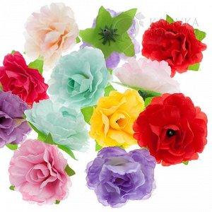 Розочки открытые из ткани, цвет микс, р-р цветка около 4см, ножка ок.1см.