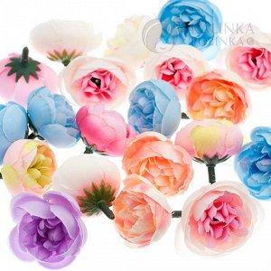Ранункулюсы открытые из ткани, цвет микс, р-р цветка около 3см, ножка ок. 1см.