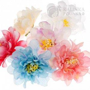 Цветы из ткани с серединкой, цвет микс, р-р цветка около 6.5 см.