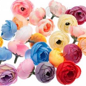 10 штук Цветы из ткани ранункулюсы, цвет микс, р-р цветка 28-35мм, ножка ок. 1см, Цветы из ткани ранункулюсы, цвет микс, р-р цветка 28-35мм, ножка ок. 1см