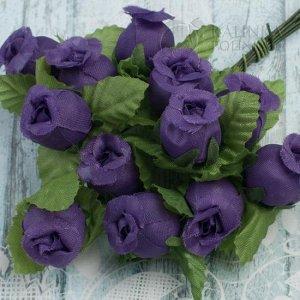 12шт. Цветы из ткани Розочки, цвет фиолетовый с зелеными листьями, р-р 12х18мм, ножка 8см, Цветы из ткани Розочки, цвет фиолетовый с зелеными листьями, р-р 12х18мм, ножка 8см, в 1 букете 12шт., Цветы