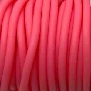 Шнур каучуковый полый матовый средней твёрдости, цвет фламинго, диам. 4мм, отв. 2мм.