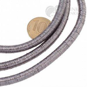 Шнур полый силиконовый в оплетке, цвет серый металлик, диаметр 7мм, отверстие 5мм.