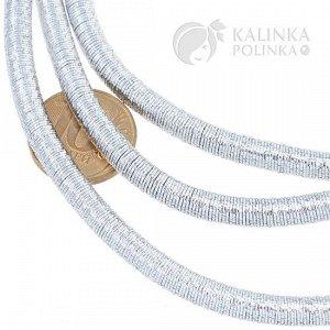 Шнур полый из железной сетки в оплетке, цвет серебро, диаметр 5мм, отверстие 2,5мм.