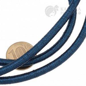 Шнур полый силиконовый в оплетке, цвет темно-синий металлик, диаметр 5мм, отверстие 3мм.