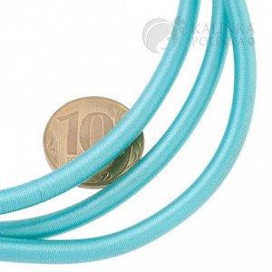 Шнур полый силиконовый в оплетке, цвет мятный-зелёный, диаметр 5мм, отв. 3мм.