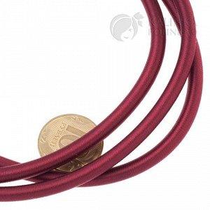 Шнур полый силиконовый в оплетке, цвет бордовый, диаметр 5мм, отверстие 3мм.
