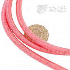 Шнур полый силиконовый в оплетке, цвет лососевый, диаметр 5мм, отверстие 3мм.