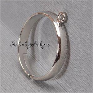 Основа для кольца с 1 петелькой, латунь, цвет платина, внутренний диаметр 16мм, ОПТ Основа для кольца с 1 петелькой, латунь, цвет платина, внутренний диаметр 16мм