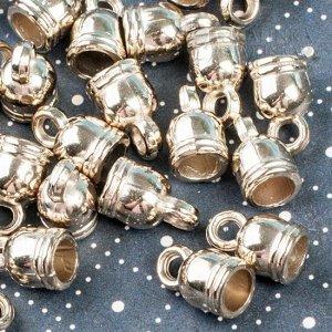 Концевики из металлизированного акрила для шнуров 4,5мм, цвет золото, 7х11мм, отв. 3мм.