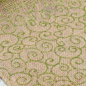 Лента из мешковины с зелёным принтом Завиток, цвет натуральный, ширина 25см