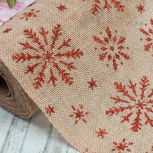 Лента из мешковины с красным принтом Снежинки, цвет натуральный, ширина 15см.