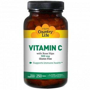 Country Life, Витамин C с шиповником, 500 мг, 250 таблеток