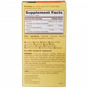 American Health, Ester-C с витамином D3, комплекс для здоровья костей и иммунной системы, 1000 мг/5000 МЕ, 60 вегетарианских таблеток