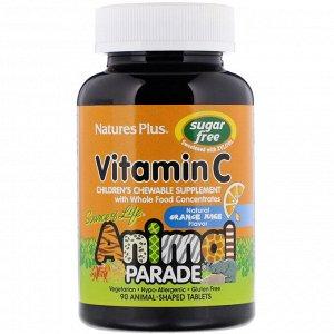 Nature&#x27 - s Plus, Source of Life, Animal Parade, витамин C, жевательная добавка без сахара для детей, вкус натурального апельсинового сока, 90 таблеток в форме животных