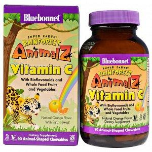 Bluebonnet Nutrition, Super Earth, Rainforest Animalz, витамин С, натуральный апельсиновый вкус, 90 жевательных таблеток