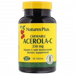 Nature&#x27 - s Plus, Ацерола-С, жевательные таблетки, 250 мг, 90 таблеток