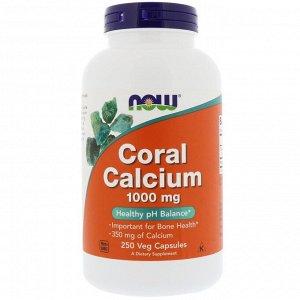 Now Foods, кальций из кораллов, 1000 мг, 250 растительных капсул