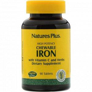 Nature&#x27 - s Plus, Chewable Iron, 90 таблеток с вишневым вкусом