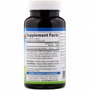 Carlson Labs, Хелатный цинк, 30 мг, 250 таблеток