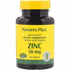 Nature&#x27 - s Plus, Цинк, 50 мг, 90 таблеток