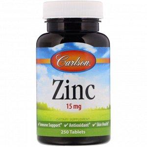 Carlson Labs, Цинк, 15 мг, 250 таблеток