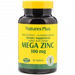 Nature&#x27 - s Plus, Мега цинк, 100 мг, 90 таблеток