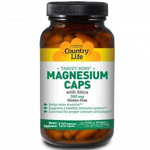 Country Life, Target-Mins, магний в капсулах, 300 мг, 120 вегетарианских капсул