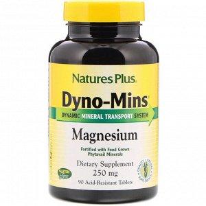 Nature&#x27 - s Plus, Dyno-Mins, Магний, 250 мг, 90 кислотоустойчивых таблеток