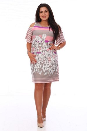 Платье Женское платье из вискозы полуприлегающего силуэта с мягким расширениемк низу. Платье с О-образной горловиной и круглыми вырезами по плечам, вырезы рукавов и горловина обработаны тонким канто