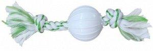 CanineClean игрушка для собак Канат 25 см с нейлоновым мячом с ароматом мяты СКИДКА 20%