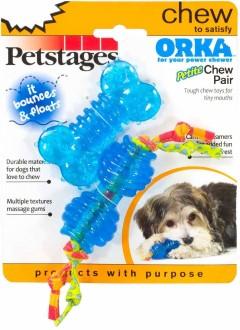 """Petstages набор из двух игрушек для собак мелких пород """"ОРКА косточка + гантеля"""" 7 см ультра-мини"""