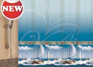 Штора для ванной комнаты, 180 х 180 см, с кольцами, полиэстер, голубой, ПАРУС, 1/20