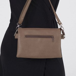 Сумка женская, 3 отдела на молнии, 2 наружных кармана, длинный ремень, цвет светло-коричневый