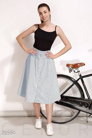 Полосатая юбка-трапеция