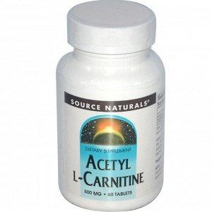 Source Naturals, Ацетил-L-карнитин, 500 мг, 60 таблеток