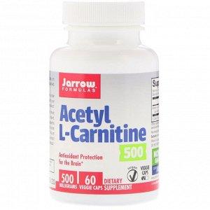 Jarrow Formulas, Ацетил-L-карнитин 500, 500 мг, 60 растительных капсул