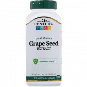 21st Century, стандартизированный экстракт из косточек винограда, 200 вегетарианских капсул