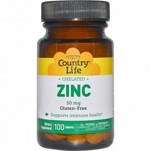 Country Life, хелатный цинк, 50 мг, 100 таблеток